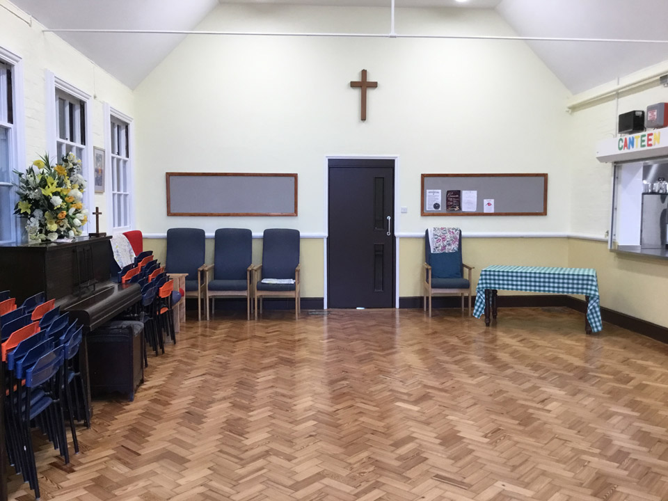 The Parlour at Wimpole Road Methodist Church. Light and clean with the kitchen hatch on the right.