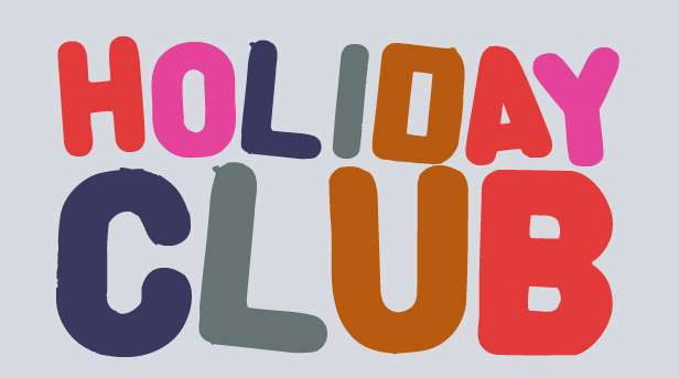 Different coloured crayons on a grey background. Title says 'Holiday Club, click for more info'